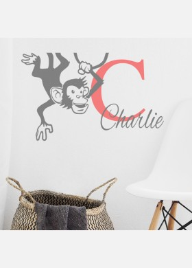 Personalised Initial name wall sticker monkey girls baby art nursery decal p11