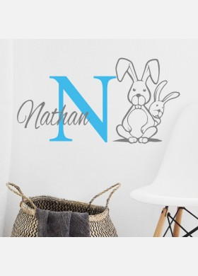 Personalised Initial name wall sticker rabbit girls baby art nursery decal p12