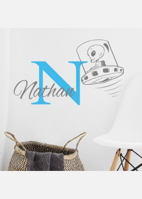 Personalised Initial name wall sticker ufo girls baby art nursery decal p13