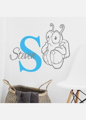 Personalised Initial name wall sticker alien girls baby art nursery decal p14