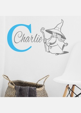 Personalised Initial name wall sticker wizard girls baby art nursery decal p17
