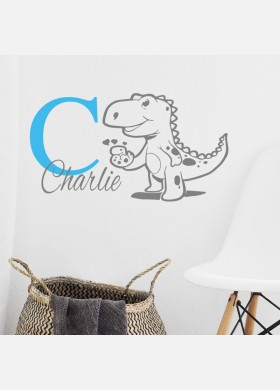 Personalised name wall sticker dinosaur boys girls baby art nursery decal p2