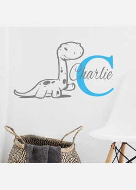 Personalised name wall sticker dinosaur boys girls baby art nursery decal p3