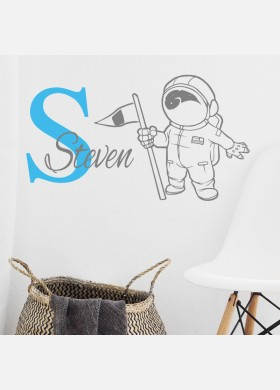 Personalised name wall sticker space man boys girls baby art nursery decal p4