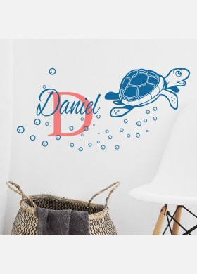 Personalised Initial name wall sticker turtle boys girls baby art nursery decal p5