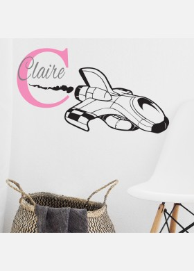 Personalised Initial name wall sticker ship boys girls baby art nursery decal p6