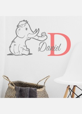 Personalised Initial name wall sticker elephant boys girls baby art nursery decal p7