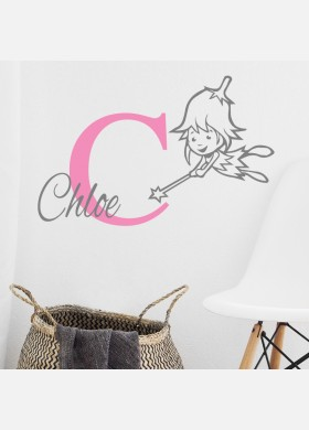 Personalised Initial name wall sticker fairy girls baby art nursery decal p8