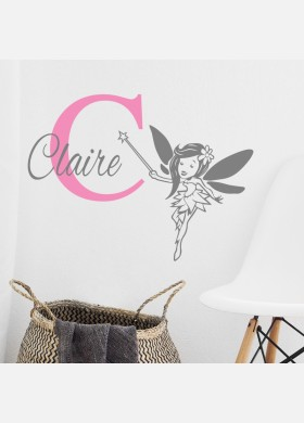 Personalised Initial name wall sticker fairy girls baby art nursery decal p9