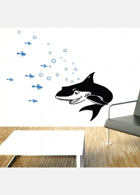 Shark wall sticker with fish