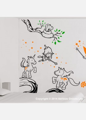 Fairies and Unicorns Themed Wall Mural