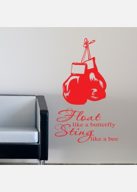 Float Like Butterfly Sting Like A Bee With Gloves Wall Sticker