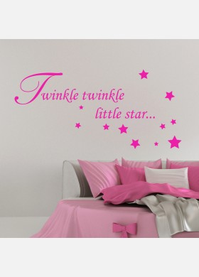 Baby Wall Sticker Quote - Twinkle Twinkle Star Child Nursery Bedroom Decal Art