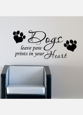 Dogs Leave Paw Prints On Your Heart Wall Sticker Decal
