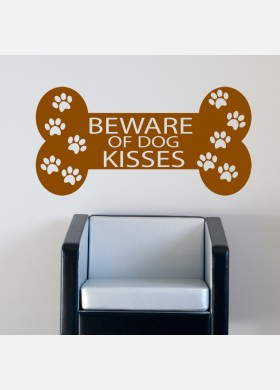 Beware Of Dogs Kisses Bone Wall Sticker Decal