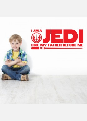 I am a jedi like my father kids wall sticker quote Wall Decal w190