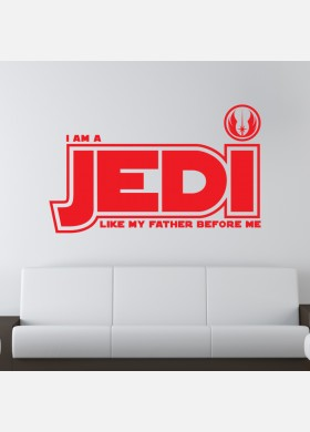I am a jedi like my father kids wall sticker quote Wall Decal w191