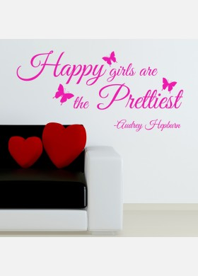 Happy girls are the prettiest girls wall sticker quote Wall Decal w194