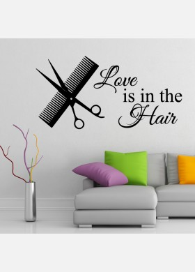 Love is in the hair wall sticker salon Wall Decal w197