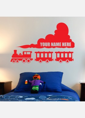 Personalised train wall sticker decal kids bedroom Art Decor w206
