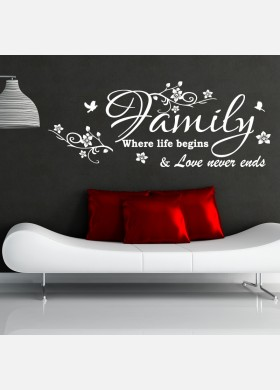 Family wall sticker where life begins art decal w207
