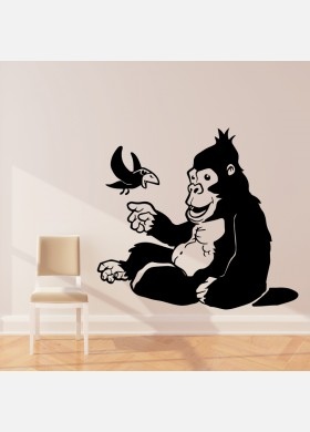 Gorilla wall sticker art decal Jungle forest theme kids bedroom decor w211
