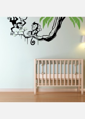 Swinging monkeys wall sticker art decal Jungle forest theme kids bedroom w212