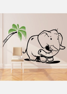 Elephant wall sticker art decal Jungle forest theme kids bedroom decor w215