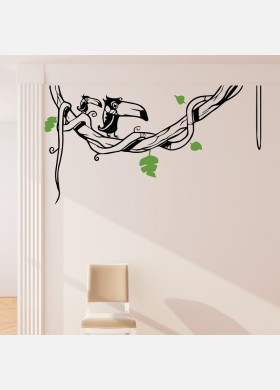 Bird wall sticker Toucan art decal Jungle forest theme kids bedroom decor w216