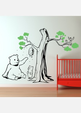 Teddy bear Tree wall sticker art decal forest theme kids bedroom decor w218