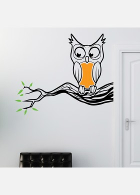 Owl on Branch wall sticker art decal forest theme bird kids bedroom decor w219