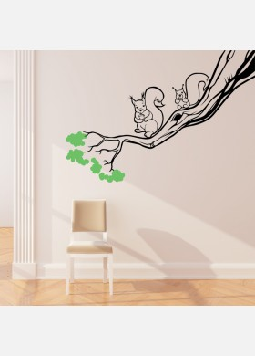 Squirrels in Tree wall sticker art decal forest theme kids bedroom decor w220