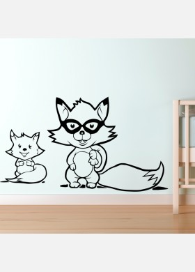 Raccoon wall sticker art decal Jungle forest theme kids bedroom decor w221
