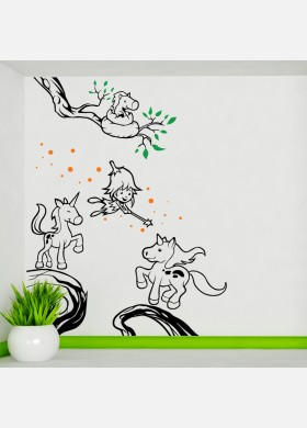 Fairies and Unicorns wall decal sticker art fairy theme kids bedroom girls w226