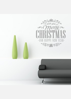 Merry Christmas  and Happy New Year Wall Sticker