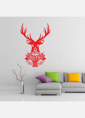Merry Christmas Stag Decal Wall Sticker