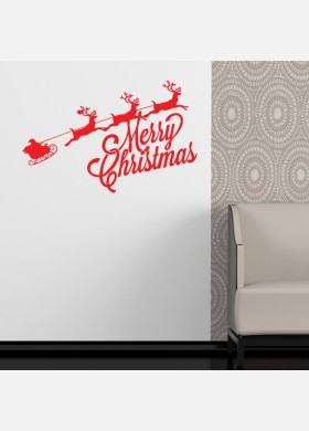 Christmas wall sticker santa and sleigh